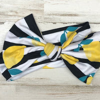 Lemon Stripe Headwrap Bow
