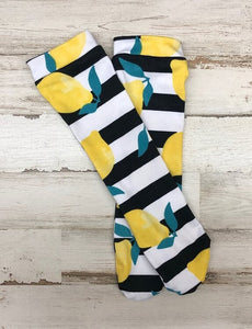 Lemon Stripe Knee High Socks