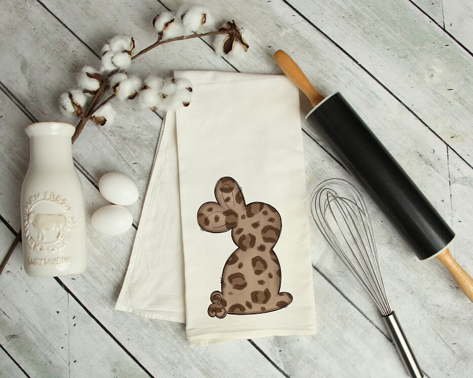 Leopard Easter Bunny Kitchen Tea Towel