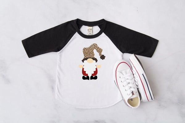 Leopard Christmas Gnome Black Raglan, Multiple Sizes Available