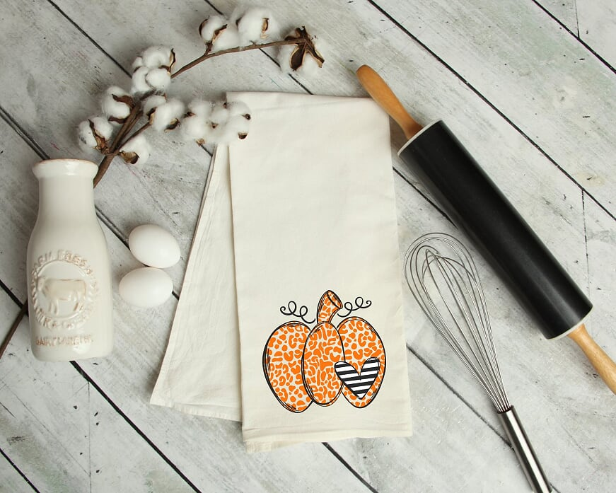 Leopard Pumpkin Love Kitchen Tea Towel