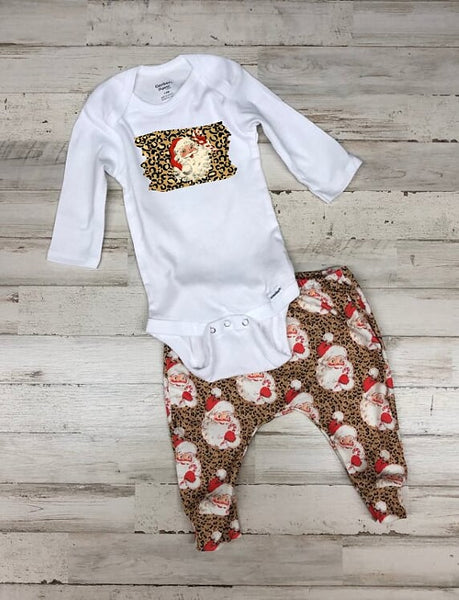 Leopard Santa Jogger Infant or Toddler Outfit