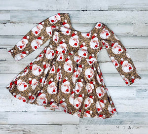 Leopard Santa twirl dress