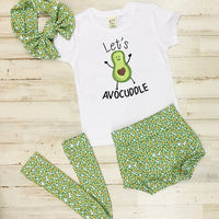 Let's Avocuddle High Waisted Bummie Set With T Shirt, Bow, and Knee highs