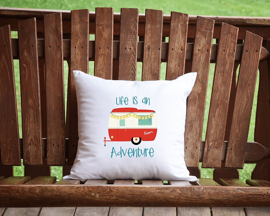 Life Is An Adventure Camper Throw Pillow