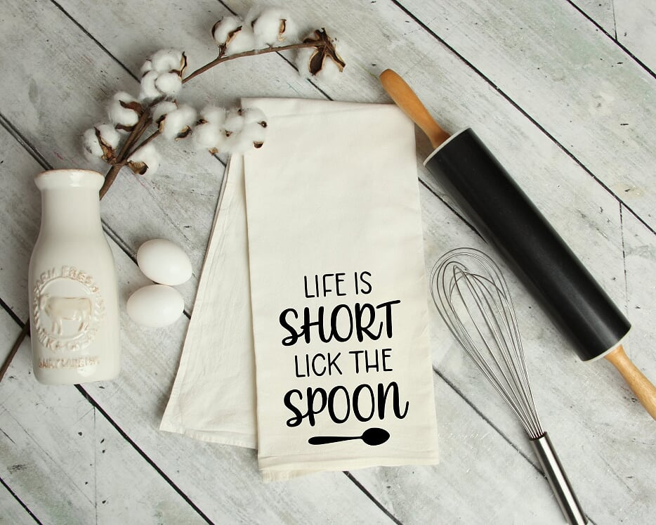 Life Is Short Lick The Spoon Kitchen Tea Towel