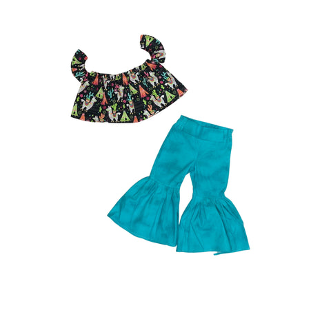 A Whole Llama Love Crop Top And Turquoise Ruffle Bell Bottoms