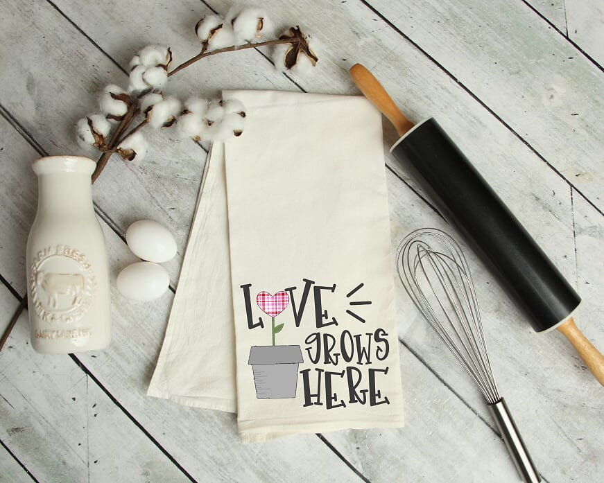 Love Grows Here Kitchen Tea Towel