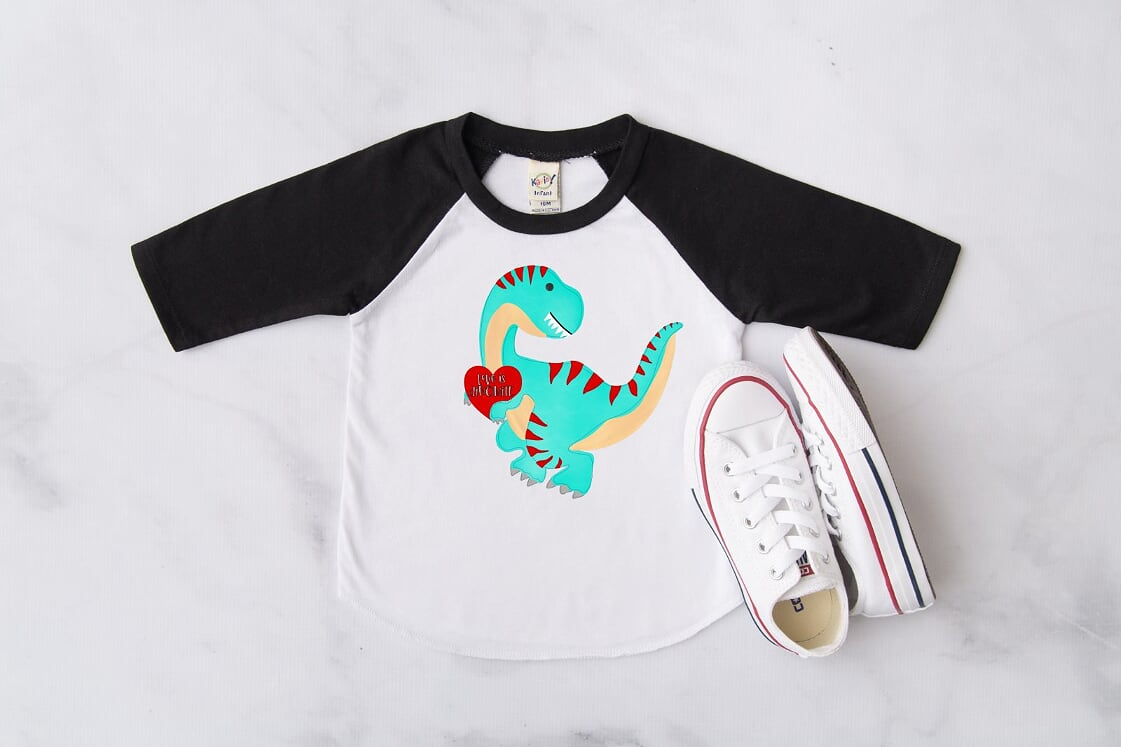 Love Is Dinomite Black Raglan, Multiple Sizes Available