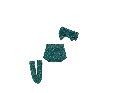 Lucky Horseshoes High Waisted Bummie Set, Bow and Knee highs