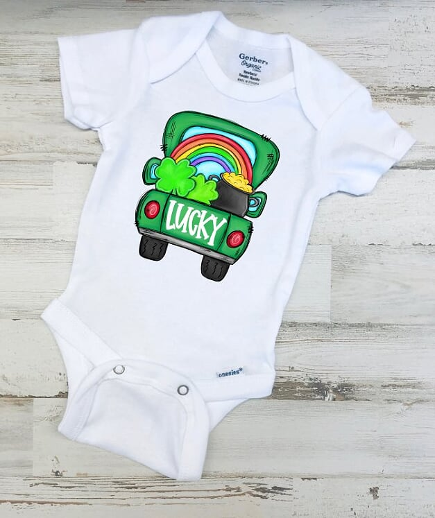 Lucky St. Patrick's Day Pick Up Truck Gerber ONESIE ®