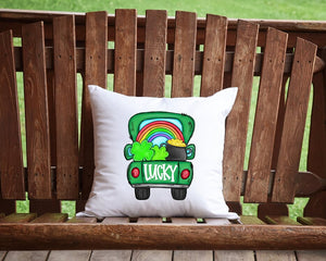 Lucky St. Patrick's Day Pick Up Truck Throw Pillow