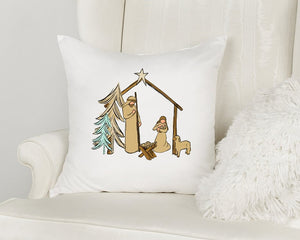 Manger Christmas Throw Pillow