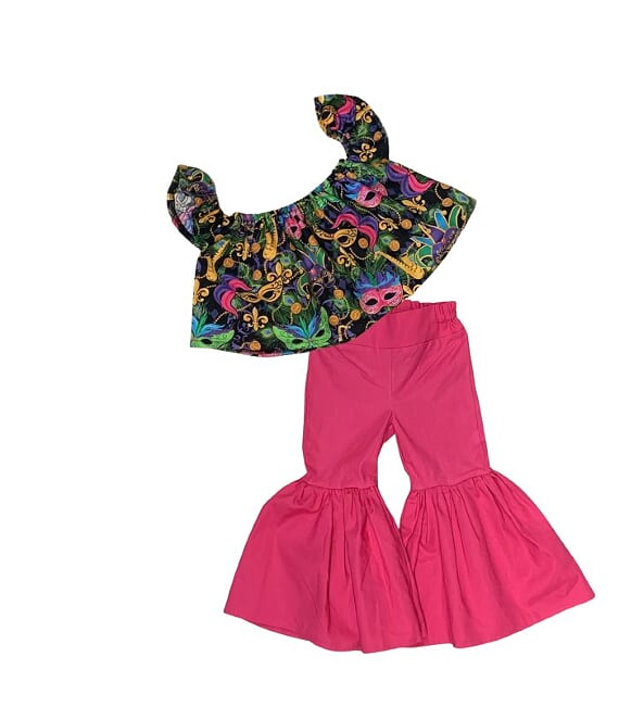 Mardi Gras Crop Top And Hot Pink Ruffle Bell Bottoms