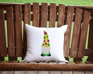 Mardi Gras Gnome Throw Pillow