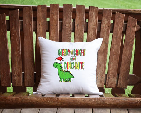 Merry And Bright And Dino-Mite Throw Pillow