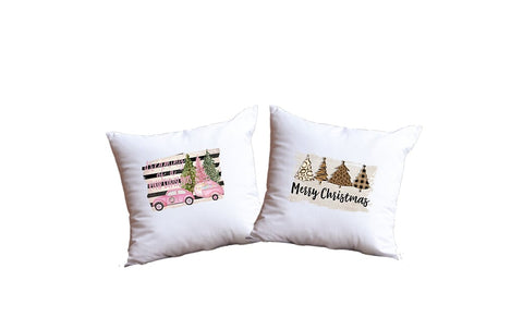 Merry Christmas And Dreaming Of A Pink Christmas Throw Pillow Set