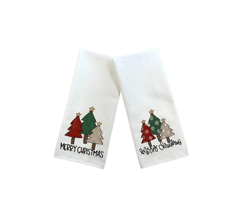 Merry Christmas Kitchen Towel Set, Set Of Two Towels