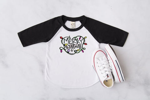 Merry Christmas Lights Raglan, Multiple Sizes Available