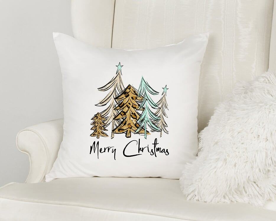 Merry Christmas Leopard Trees Throw Pillow
