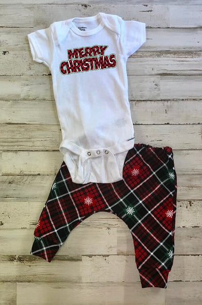 Merry Christmas Plaid Jogger Infant or Toddler Outfit