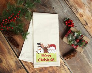 Merry Christmas Santa And Friends Tea Towel