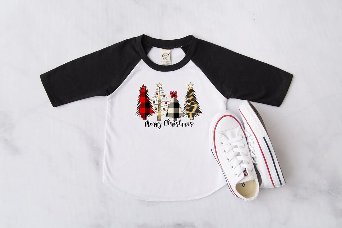 Merry Christmas Trees Kids Black Raglan, Multiple Sizes Available