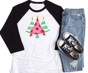Merry Christmas Trees Black Raglan, Multiple Sizes Available