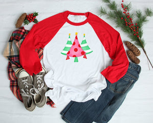 Merry Christmas Trees Red Raglan, Multiple Sizes Available