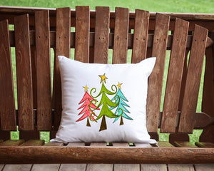 Merry Christmas Trees Throw Pillow