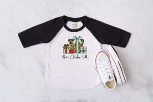 Merry Christmas Y'all Kids Raglan, Multiple Sizes Available