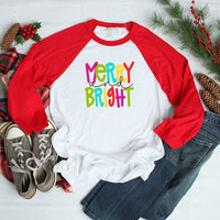 Merry And Bright Adult Red Raglan Shirt