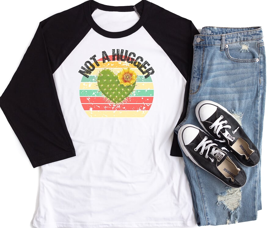 Not A Hugger Adult  Raglan Shirt