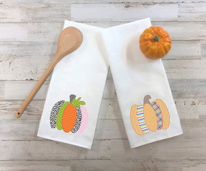 Patchwork Pumpkins Kitchen Towels, Set Of Two Towels