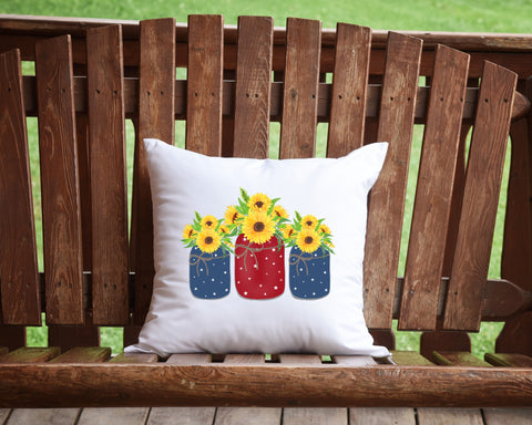 Patriotic Flowers Throw Pillow