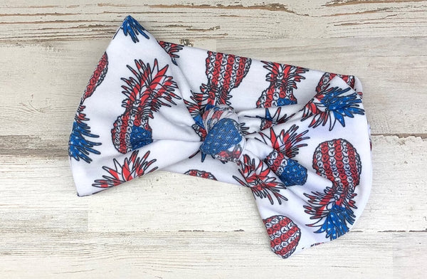 Patriotic Pineapples Headwrap Bow