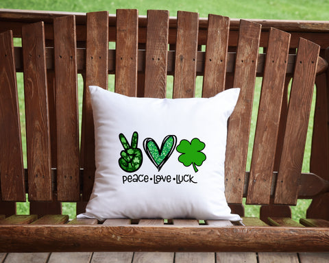 Peace Love Luck Throw Pillow