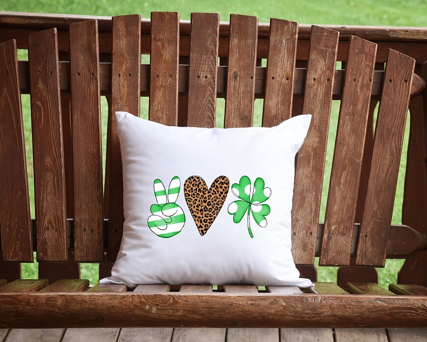 Peace, Love, and Luck Throw Pillow