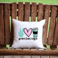 Peace, Love, Coffee Throw Pillow