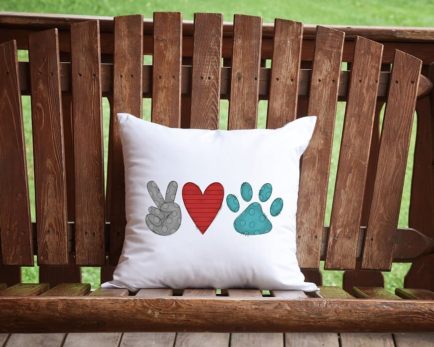 Peace, Love, Paws Throw Pillow