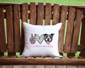 Peace Love Pitties Throw Pillow