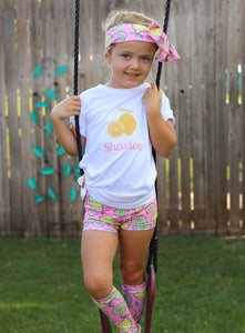 Personalized Lemonade High Waisted Bummie Set With T Shirt, Bow, and Knee highs