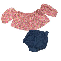 Pink Pumpkins Crop Top and Denim Bloomers