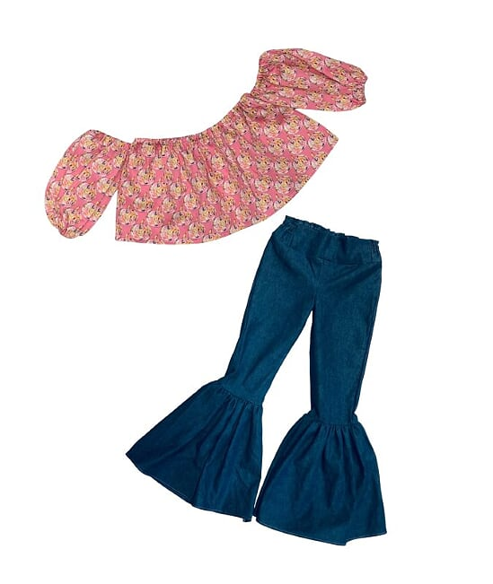 Pink Pumpkins Crop Top and Denim Bell Bottoms