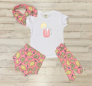 Pink Lemonade High Waisted Bummie Set With T Shirt, Bow, and Knee highs