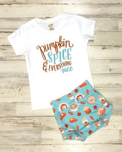 Pumpkin Spice And Everything Nice T Shirt And High Waisted Bummies