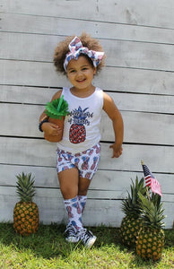 Patriotic Pineapples High Waisted Bummie Set, Bow and Knee highs