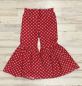 Red Dot Ruffle Bell Bottoms