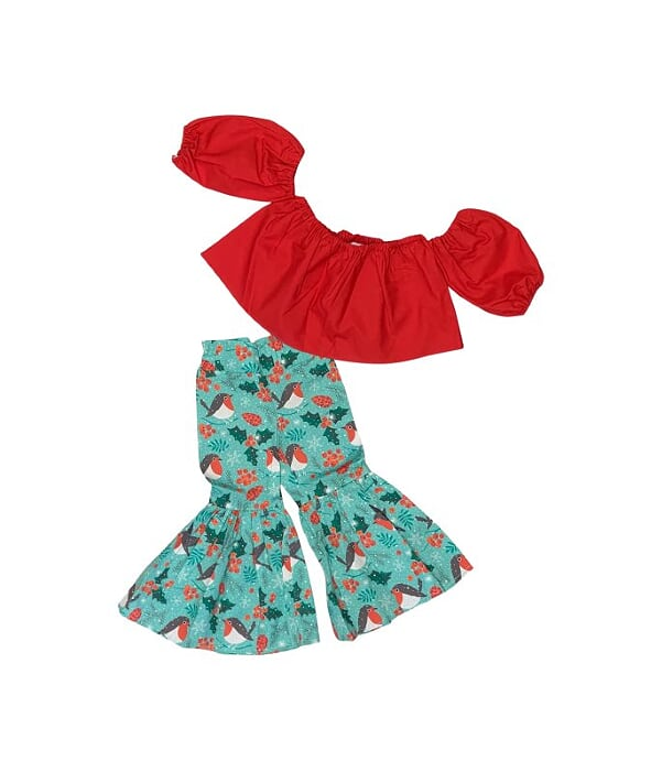 Red Crop Top And Winter Birds Bloomers