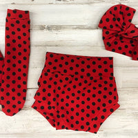 Red Polka Dot High Waisted Bummie Set, Bow and Knee highs